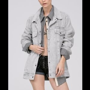 LAST ONE soft plush grey oversized corduroy jacket